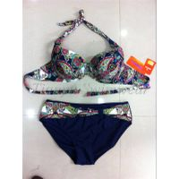 Sexy girl bandeau top bikini set lepard swimsuit