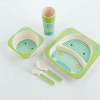 Bamboo Fiber Children Dinnerware Biodegradable 5 Pieces Kids Tableware Set thumbnail image