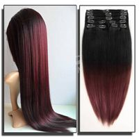 100% brazilian remy full head clip in hair extensions for african american thumbnail image