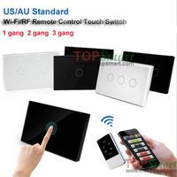 US/AU Standard Wifi Mobile APP Remote Control Toughened Glass Panel Light Touch Switch