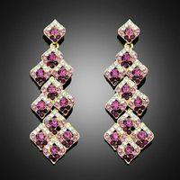 Europe Style Rhinestone Drop super star purple earrings for women Crystal Rhinestone long jewelry Fr thumbnail image
