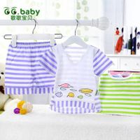 2015New Fashion Striped 100%Cotton Summer Baby Sets Short Sleeve Baby T-shirt Shorts Suits Newborn C