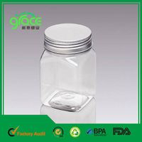 Aluminum Screw Lid Transparent Plastic Jar