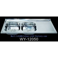 WY-12050 Long kitchen cabinet design double bowl sink with drainboard hot sale in Africa from Foshan