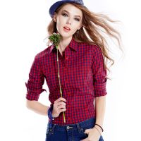 Ladies' checked shirt,Long sleeves,Made of 100% cotton stocklot shirts,Women Casual Shirt