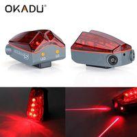 Okadu BL55 Long Runtime Bike Tail Light AAA Battery Laser Bike Light Red Laser Bike Light for Emerge