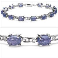 Magnificent 13.50CTW Genuine Tanzanite .925 Sterling Silver Bracelet