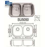 50 / 50 Stainless Steel Undermount round Sink