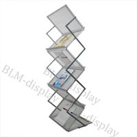 Direct Manufacture A3 Double Sided Shelves Aluminum Magazine Rack/Leaflet Coupon Stand BLM-305