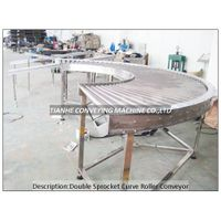 motor driving double sprocket curve roller conveyor,motor driving double chain driving roller convey thumbnail image