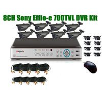 New 8CH Sony 700TVLIR wateproof H.264 DVR kit in 36pcs leds 30m IR distance