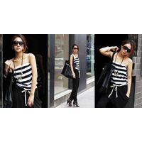 JJ fashion Black and white stripe wipes bosom conjoined pants    Products ID: 006D-80963#