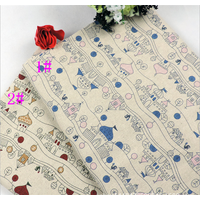 castle pattern printed linen cotton fabric textile for tablecloth thumbnail image