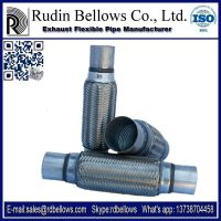 Stainless steel exhaust pipes flexible with external braid, internal interlock and nipple