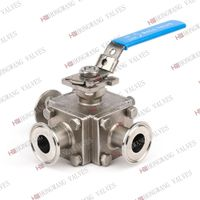 Stainless Steel Sanitary Manual Full Bore Three Way Clamped Ball Valve