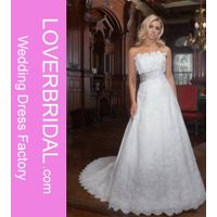A-Line Straight Neckline Strapless with Lace Appliques Zipper Organza Wedding Dress