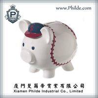 Ceramic Polyresin Terracotta Baseball Piggy Money Box thumbnail image