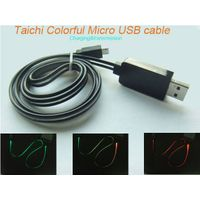 2015 Newest Design Fashion Visible Lighting Taichi color Changing Data Sync Charger Charging Cable w