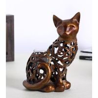Hollowed out resin cat candlestick