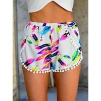 summer fashion woman beach short with pompom