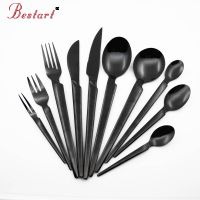 New style stainless steel black cutlery set thumbnail image