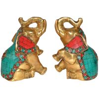 Book End of Elephant Turquoise work by Aakrati