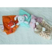 Plush stuffed animal head comforter blanket,security blanket,birth/Christening Gift