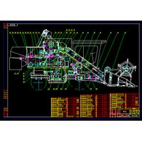Soybean Combine Harvester Blueprint Drawing