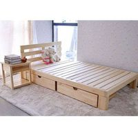 Wood bed with drawers