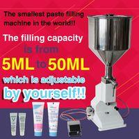 with capper,pneumatic single nozzle liquid cream sauce filling machine 5ML-50ML thumbnail image