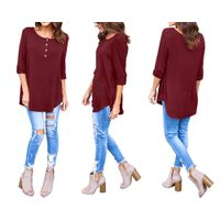 Nadasha Women's 3/4 Sleeves Button Up Loose Fits Tunic Tops Blouses