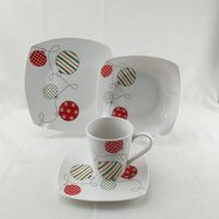 16pcs square shape white ceramic porcelain dinnerware crockery set