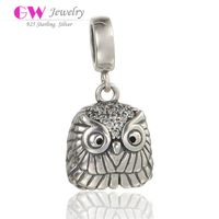 Wholesale DIY Jewelry Owl Sterling Silver Dangle Charm With Stones On The Head S265