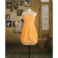 Peach Short Bridesmaid Dress, Chiffon Pleating Bridesmaid Dress, Prom Dress thumbnail image