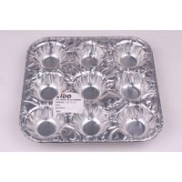 Disposable Aluminum Foil Food Container 9 Cups Muffin Roll Edge