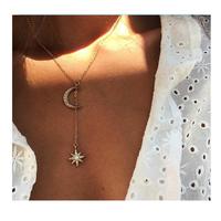 Fashion personality retro double color moon sun Ao Bao women's necklace wholesale thumbnail image