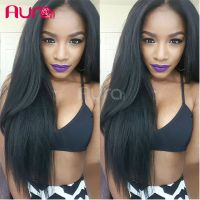 Top quality unprocessed virgin Indian human hair full lace wig silk starigth style with baby hair