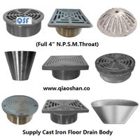Round and Square Stainless Steel Strainer and Cleanout Top for Cast Iron Floor Drains Body