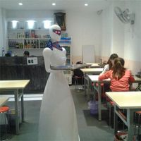 interactive robot works in restaurant instead of human waiter/robotic waiter