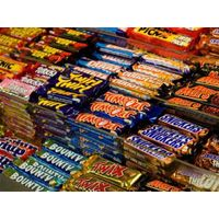 Chocolate Bars Bounty, Twix, Mars, Snickers, Milky Way, Galaxy, Kit Kat, M&M, Hazelnut, Kinder Joy,