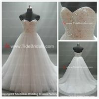 Ball gown Strapless Zipper back Lace Chapel Train Party Wedding Dress Bridal gown (SZRR10-3)
