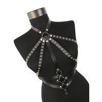 Hand made leather women harness belt, body harness