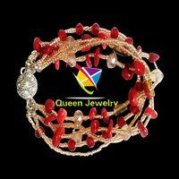Elegant Boho Bead Rhinestone Multilayer Pendant Bracelet brooke stone jewelry