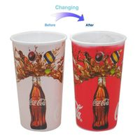 color changing plastic glass