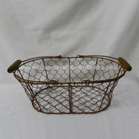 Rustic primitive antique real rust chicken wire gift basket with wooden handle