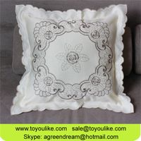 Simple Fashion Flower Embroidered Beige Cushion Cover Throw