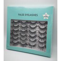 12 Pairs Thick Faux Mink Eyelashes Fiber False Lashes