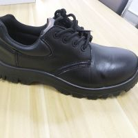 Pure Black Genuine Leather Upper Safety Shoes Steel Toe Cap thumbnail image