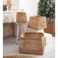 Seagrass Palm Leaf Open Weave Storage Baskets
