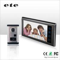 7 inch FRID ID card unlock 4-wired video door phone door bell intercom system with unlocking, talk a